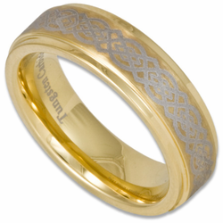 6MM Laser Etched 'Celtic' Tungsten Wedding Ring Stepped Edge w/ 18K Gold Plating