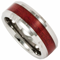 8MM Tungsten Wedding Ring with Redwood Inlay