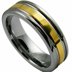 6MM Two Tone Tungsten Wedding Ring with 18K Gold Center