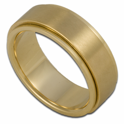 7MM Stainless Steel w/ 18K Gold Plating Spinner Ring