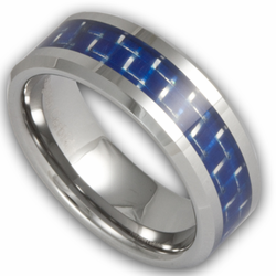 8MM Tungsten and Blue Carbon Fiber Ring