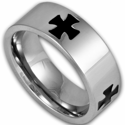 8MM Stainless Steel Ring w/ Black Cross