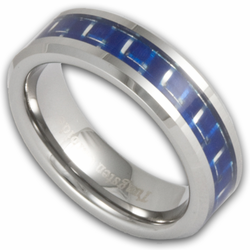 6MM Tungsten and Blue Carbon Fiber Ring Unisex