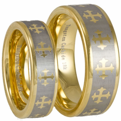 His and Hers Tungsten Wedding Ring Set w Laser Etched Celtic Cross