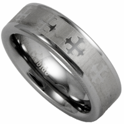 6MM Tungsten Wedding Ring w/ Laser Etched Celtic Cross Pattern Silver Color Mens or Womens