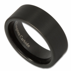 8MM Black Pipe Cut Matte Finish Tungsten Ring