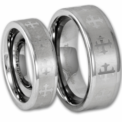 His and Hers Tungsten Wedding Ring Set w/ Laser Etched Celtic Cross (Silver)