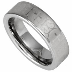 Women's or Men's 6MM Tungsten Laser Etched Cross Ring Unisex