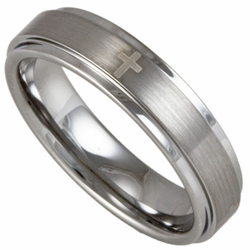 5MM Stepped Edge Tungsten Wedding Ring w/ Four Christian Crosses (Women's or Men's)