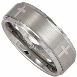 8MM Stepped Edge Tungsten Wedding Ring w/ Four Christian Crosses