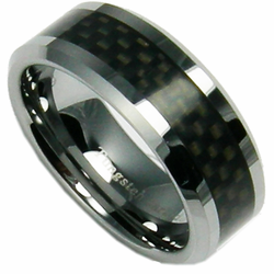 8MM Tungsten and Black Carbon Fiber Ring