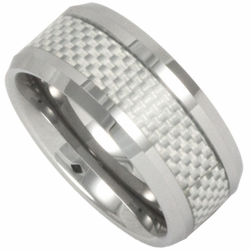 10MM Tungsten and White Carbon Fiber Mens Ring