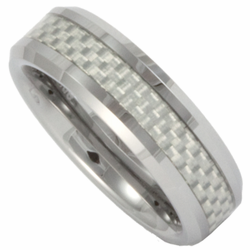 6MM Tungsten and White Carbon Fiber Mens or Womens (Unisex) Ring