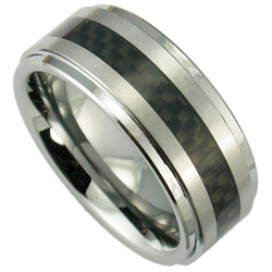 9MM Tungsten and Black Carbon Fiber Stepped Edge Ring