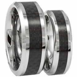 His and Hers Tungsten and Black Carbon Fiber Wedding Ring Set