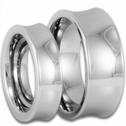 His and Hers 'Scoop' Style Tungsten Wedding Ring Set
