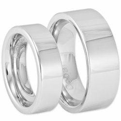 His and Hers Modern Pipe Cut Style Matching Cobalt Wedding Ring Set