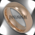 6MM Domed Tungsten Wedding Ring with 18K Rose Gold Plating