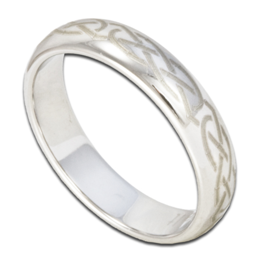 4mm Cobalt Chrome Ring W Laser Etched Celtic Knot Womens