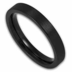3MM Women's Pipe Cut Matte Finish Black Stainless Steel Ring