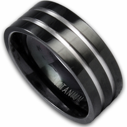 8MM Black Titanium Ring with Silver Grooves
