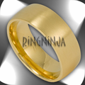 8MM Satin Finish Gold Plated Stainless Steel Domed Mens Ring