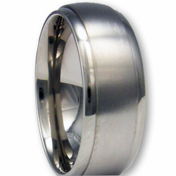 8MM Titanium Wedding Ring w/ Brushed Center