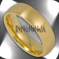 6MM Satin Finish Gold Plated Stainless Steel Domed Unisex Ring