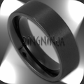 6MM Men's or Women's Pipe Cut Matte Finish Black Stainless Steel Ring