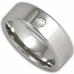 6MM Pipe Cut Titanium Wedding Band w/ Simulated Diamond