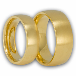 His and Hers Satin Finish Gold Plated Domed Stainless Steel Ring Set