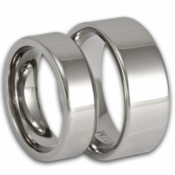 His and Hers Modern Pipe Cut Titanium Wedding Ring Set