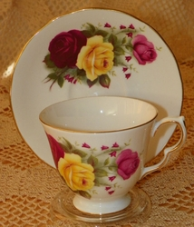 Cup & Saucer Queen Anne Floral Red & Yellow Roses