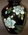 Ceramic Vase Ebony Bulbous Floral Design