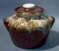 Brown Pottery Crock with Handles