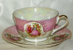Pink Cameo Lusterware like Cup & Saucer Unmarked