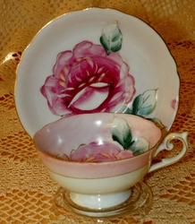 Handpainted Cup & Saucer Rose with Gold Trim