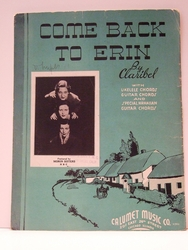 Collectible Sheet Music Come Back to Erin