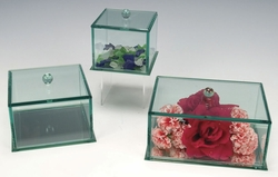 Bevelled Glass Jewelry or Keepsake Box With Removable Lid 4 X 4