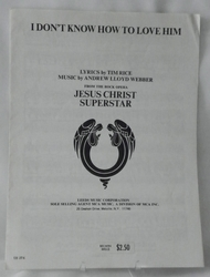 Sheet Music I Don't Know How to Love Him Jesus Christ Superstar 1970