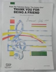 Sheet Music Thank You For Being A Friend Golden Girls Theme 1978