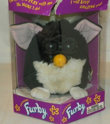 Electronic Furby Black & White Skunk Look with Brown Eyes, White Feet Ages 6 & Up