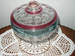 US Glass King's Crown Thumbprint Comport with Cover Stands 8 1/2 inches