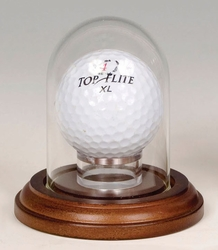 Mini Glass Dome Walnut Base with Golf Ball Holder 1 7/8 X 2 3/4