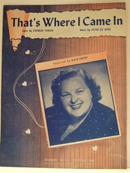 That's Where I Came In - Sheet Music