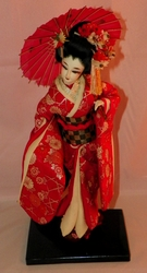 Vintage Handmade Japanese Geisha Doll on Wood Base