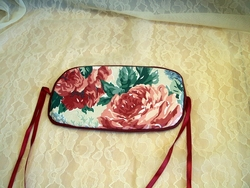 Longaberger Tall Key Basket Lid Rose Fabric and Ribbon