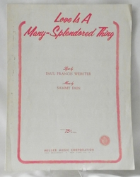 Sheet Music Love Is a Many-Splendored Thing 1955