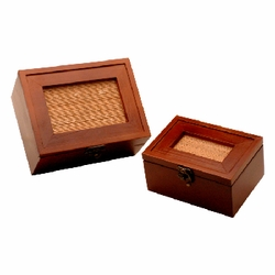 Wooden Box Set of 2 Elegant Honey & Wicker Design