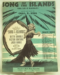 Sheet Music Song of the Islands Betty Grable 1930